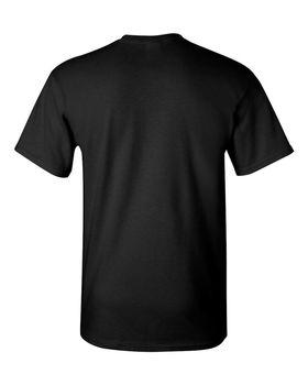 Футболка мужская из ткани (M) 150 г/м2 (с доп.обработкой энзимами и силиконом), черный цвет, вид сзади. CottonOnline.ru