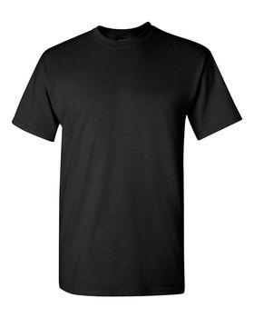 Футболка мужская из ткани (M) 150 г/м2 (с доп.обработкой энзимами и силиконом), черный цвет, вид спереди. CottonOnline.ru