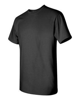 Футболка мужская из ткани (XL) 150 г/м2 (с доп.обработкой энзимами и силиконом), черный цвет, вид сбоку. CottonOnline.ru