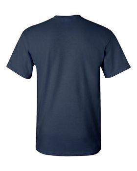 Футболка мужская однотонная 115-120 г/м2 (L), темно-синий цвет, вид сзади. CottonOnline.ru