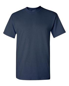 Футболка мужская однотонная 115-120 г/м2 (L), темно-синий цвет, вид спереди. CottonOnline.ru