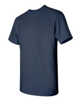 Футболка мужская однотонная 115-120 г/м2 (L), темно-синий цвет, вид сбоку. CottonOnline.ru