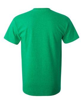 Футболка мужская однотонная (размер S), плотность ткани 150-160 г/м2, зеленый цвет. Вид сзади. CottonOnline.ru