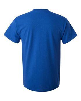 Футболка мужская однотонная (размер M), плотность ткани 150-160 г/м2, цвет василек. Вид сзади. CottonOnline.ru