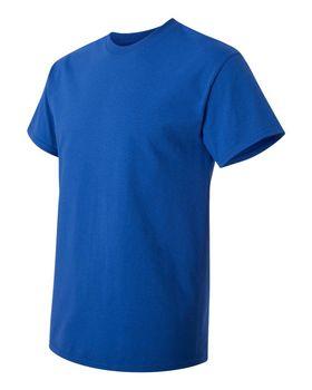 Футболка мужская однотонная (размер L), плотность ткани 150-160 г/м2, цвет василек. Вид сбоку. CottonOnline.ru