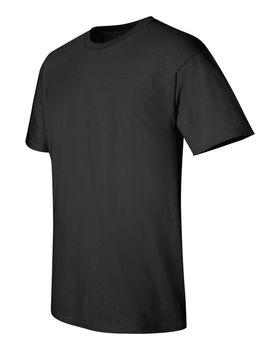 Футболка мужская однотонная 115-120 г/м2, черный цвет. Вид сбоку. CottonOnline.ru