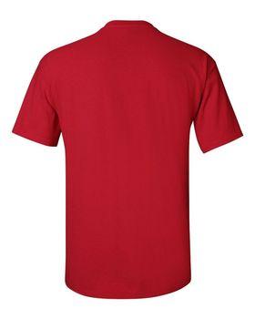 Футболка мужская однотонная 150-160 г/м2 (L), красный цвет, вид сзади. CottonOnline.ru