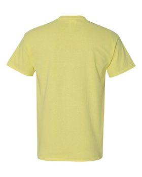 Футболка мужская однотонная (размер S), плотность ткани 150-160 г/м2, цвет желтый. Вид сзади. CottonOnline.ru
