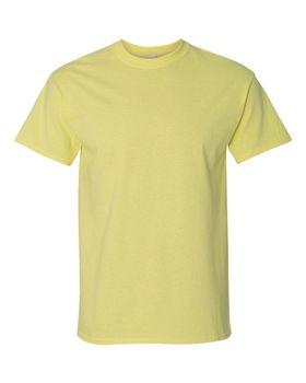 Футболка мужская однотонная (размер S), плотность ткани 150-160 г/м2, цвет желтый. Вид спереди. CottonOnline.ru