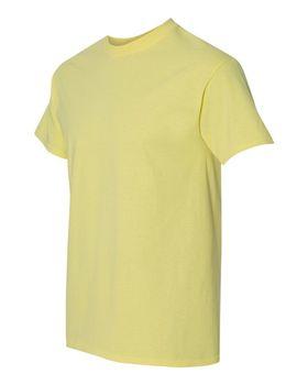 Футболка мужская однотонная (размер S), плотность ткани 150-160 г/м2, цвет желтый. Вид сбоку. CottonOnline.ru