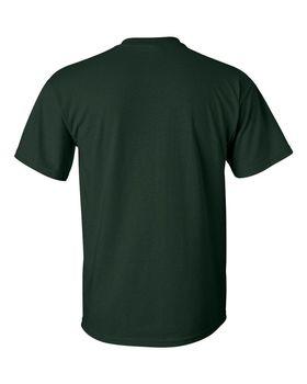 Футболка мужская однотонная (размер L), плотность ткани 150-160 г/м2, темно-зеленый цвет. Вид сзади. CottonOnline.ru