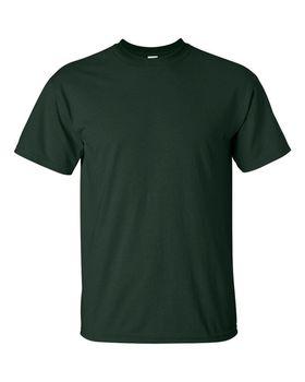 Футболка мужская однотонная (размер S), плотность ткани 150-160 г/м2, темно-зеленый цвет. Вид спереди. CottonOnline.ru