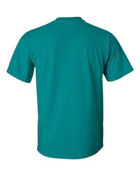 Футболка мужская однотонная 115-120 г/м2, бирюзовый цвет (L), вид сзади. CottonOnline.ru