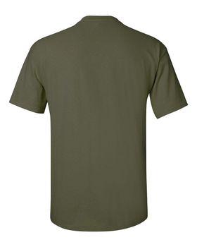 Футболка мужская однотонная (размер М), плотность ткани 150-160 г/м2, цвет хаки. Вид сзади. CottonOnline.ru
