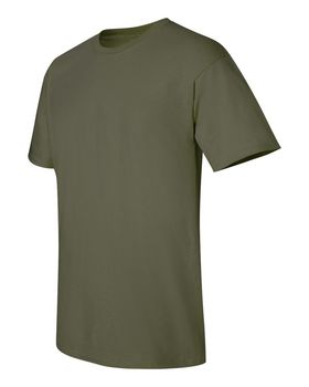 Футболка мужская однотонная (размер S), плотность ткани 150-160 г/м2, цвет хаки. Вид сбоку. CottonOnline.ru