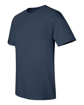 Футболка мужская однотонная (размер XL), плотность ткани 150-160 г/м2, цвет индиго. Вид сбоку. CottonOnline.ru