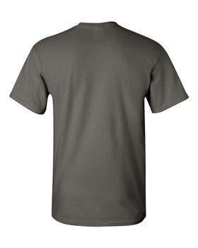 Футболка мужская однотонная (размер М), плотность ткани 150-160 г/м2, темно-серый цвет. Вид сзади. CottonOnline.ru